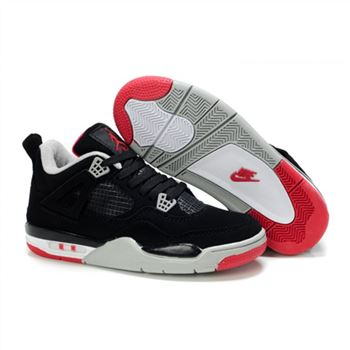 Children Air Jordan 4 Retro Black White Red