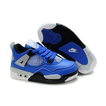 Children Air Jordan 4 Retro Blue Black Silver White