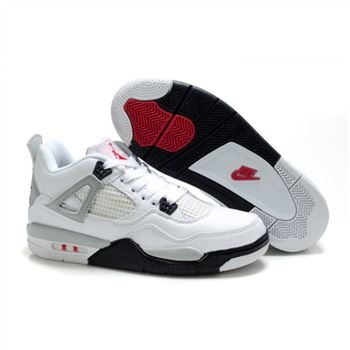 Children Air Jordan 4 Retro White Black Red Grey