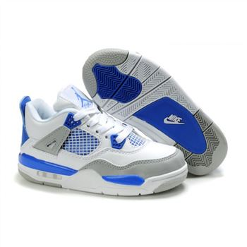Children Air Jordan 4 Retro White Blue Grey
