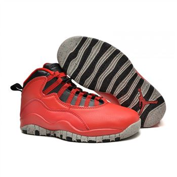 Kids Air Jordan Shoes 10 Red Black Grey