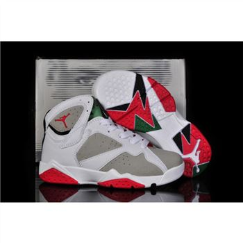 Kids Air Jordan Shoes 7 White Grey Red Green
