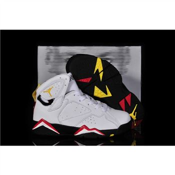 Kids Air Jordan Shoes 7 White Red Black Yellow