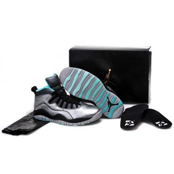 Kids Nike Air Jordan 10 Retro Silver Black Blue