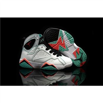 Kids Nike Air Jordan 7 Retro White Black Red Green