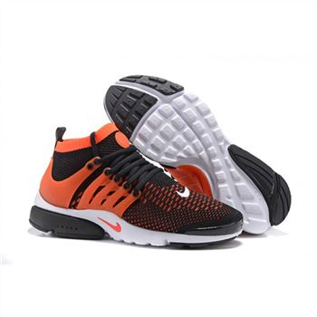 Men Nike Air Presto Flyknit Ultra Shoes Black Orange White