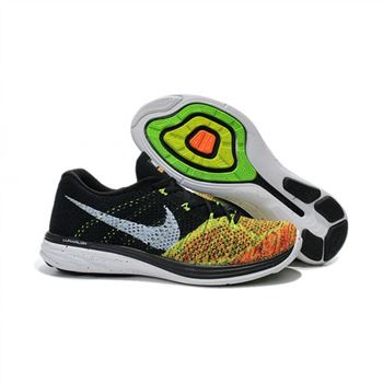 Mens Nike Flyknit Lunar 3 Black Fluorescent Orange Shoes