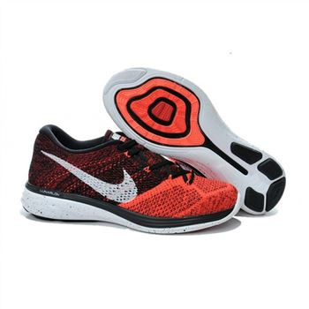 Mens Nike Flyknit Lunar 3 Black Red Shoes