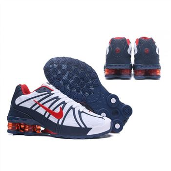 Mens Nike Shox Avernue 801 White Navy Red Shoes
