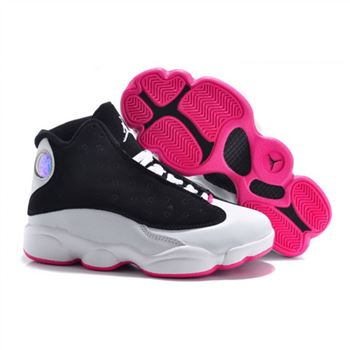 Air Jordan Shoes 13 Kids Black White Rose