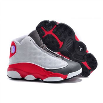 Air Jordan Shoes 13 Kids White Red Grey