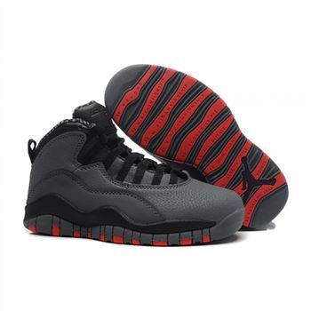 Kids Air Jordan Shoes 10 Grey Black Red