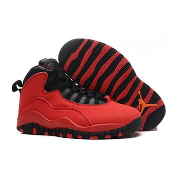 Kids Air Jordan Shoes 10 Red Black