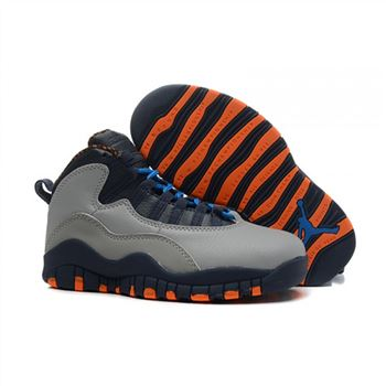 Kids Air Jordan Shoes 10 Silver Navy Orange