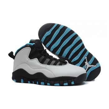 Kids Air Jordan Shoes 10 White Black Blue