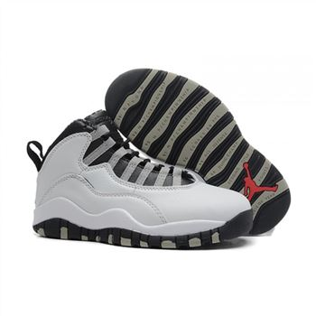 Kids Air Jordan Shoes 10 White Black Grey