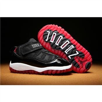 Kids Nike Air Jordan Shoes 11 Black White Red