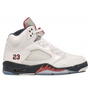 136027-103 Air Jordan 5 (V) Olympic White Midnight Navy Varsity Red (Women Men Gs Girls) A05003