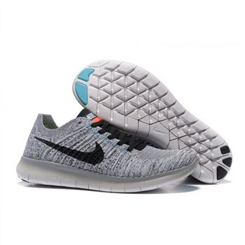 Nike Free Flyknit 5.0 Mens Light Gray Black Shoes
